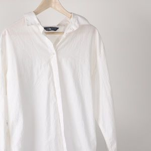 White North Face Cotton button down shirt-large